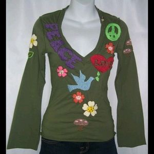Joystick Army Green Embroidered Boho Johnny Was XS